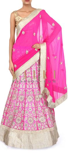 Buy Online from the link below. We ship worldwide (Free Shipping over US$100). Product SKU - 263603. Product Link - http://www.kalkifashion.com/pink-lehenga-saree-adorn-in-gotta-patch-work-embroidery-only-on-kalki.html