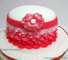 Veena's Art of Cakes: Ombre Rose Petal Cake Video Tutorial