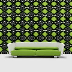 Black & White Glamour Lime in Medium Scale Repeat