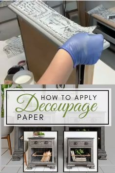 How to Update your Furniture by applying Decoupage Decor Paper. I'm also sharing a quick tip on how to blend your decoupage paper onto ANY color makeover. Diy Furniture Videos, Furniture Fix, Decoupage Furniture, Upscale Furniture, Chalk Paint Furniture, Recycled Furniture, Furniture Makeover, Chalk Paint Projects, Furniture Refinishing