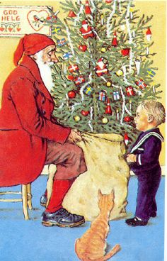 Vintage Christmas / God Jul Postcard. Tree has Flags from the Scandinavian Countries on it.