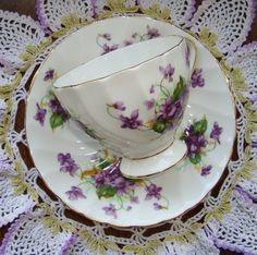 "Royal Chelsea ""Spring Violets"" English Bone China - Vintage Tea Cup and Saucer - Multiple Purple Violets by OfftheShelf2015 on Etsy"