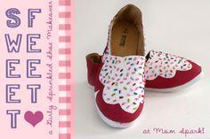Shoe Makeover: Sweet Cupcake-Inspired Girls Shoes Tutorial via @Amy Bellgardt - Mom Spark