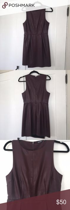 "Tildon Faux Leather Dress Tildon brand faux leather dress in burgundy/maroon. Size Small. Bought from Nordstrom and worn a handful of times. The dress hits slightly above the knee (I'm 5'3"") and can be worn on its own or is also beautiful layered. No major signs of wear, has been kept in great condition. Comes from a smoke free/ pet free home. Tildon Dresses"