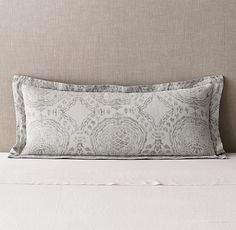 RH's Castillo Medallion Cotton-Linen Oversized Lumbar Sham:FREE SHIPPINGArtfully loomed in Portugal, our bedding's elegant medallion-and-vine pattern dates from the 16th century, a period when Portuguese textiles flourished with stylized botanical motifs. The masterful jacquard weave evokes an antiqued quality on supple washed cotton linen.
