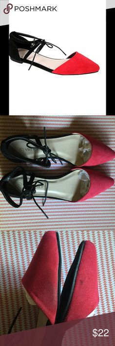 SALE⚫BLACK & RED CLOE FLATS⚫ ⚫BLACK AND RED CLOE D'ORSAY FLATS. Bring appeal to your outfits with these flat D'Orsays! The shoes have a nice suede  feel to them. A lace-up front allows for a custom fit. These are new and never worn, but in picture 3 there are a couple of small marks on them that came that way. Price reflects this. PRICE FIRM. I JUST MARKED DOWN Boutique Shoes Flats & Loafers