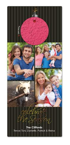 Custom Holiday Photo Cards : Celebrate The Season - POC Your photos printed on thick recycled cardstock, paired with a seed paper ornament that is packed with wildflower seeds that your friends and family can plant after they hang it from the tree.