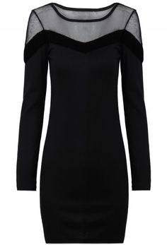Black Contrast Mesh Yoke Long Sleeve Dress