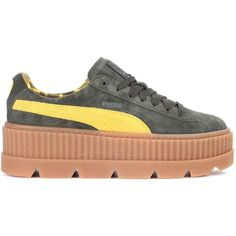 Fenty by Rihanna Creeper Suede Sneakers (€155) ❤ liked on Polyvore featuring shoes, sneakers, green suede shoes, green shoes, puma footwear, suede shoes and puma trainers
