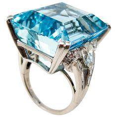 Elegant Vibrant Gem Color 32.50 Carats Aquamarine Diamond Platinum Ring   See more rare vintage Cocktail Rings at https://www.1stdibs.com/jewelry/rings/cocktail-rings