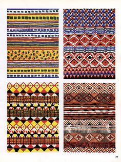 African aztec pattern designs. These would usualy be made onto or out of materials for clothing and bedding. I like the bold yet dull colour scheme and the way that they're quite organic with handmade aspects.