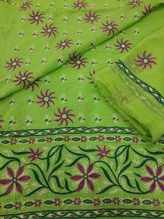 Stylish Lucknow Chikan Cotton Suit Length with neat chikankari, designer daaman & embroidered chiffon dupatta #chikankari $32.99