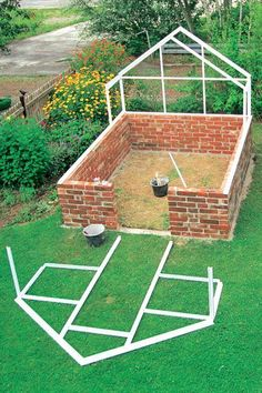 How do I build a DIY garden greenhouse Which weblo Diy Garden, Dream Garden, Indoor Garden, Garden Projects, Garden Landscaping, Outdoor Gardens, Diy Greenhouse Plans, Backyard Greenhouse, Brick Garden