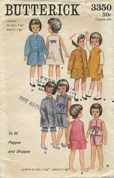 "Vintage Barbie™ Doll Clothes Sewing Pattern | Wardrobe to fit Pepper and Skipper | Butterick 3350 | Year 1964 | Length of Doll 9½"" - Breast 4¾"""