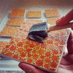 Working on some new #crafted tiles today as I have some new designs in! #tiles #etsy #craft #handmade #ceramictiles #coasters #floral #home