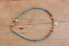 Authentic BlueTurquoise and Khaki Seed Bead by monroejewelry