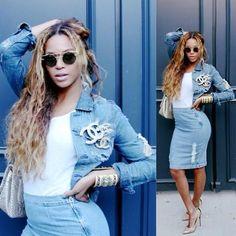 Beyoncé in Denim Chanel