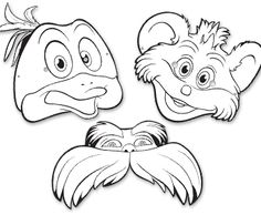Free-The Lorax masks-includes Lorax, Pipsqueak, and Bill the Swamee-Swan Dr Seuss Activities, Preschool Themes, Free Printable Cards, Printable Masks, Mustache Template, Dr Seuss Costumes, Theodor Seuss Geisel, Sunshine Birthday Parties, The Lorax