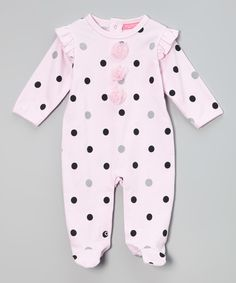 Love this Pink & Black Polka Dot Footie - Infant by Isaac Mizrahi New York on #zulily! #zulilyfinds