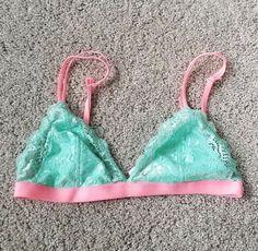 Womens Juniors Victoria s Secret PINK mint green Lace Bralette S  fashion   clothing  shoes ac19e4ed3