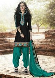 Casual Wear  Cotton Black Embroidered Work Patiala Suit