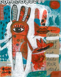 UNDER YOUR HAT original painting outsider art  by tracystokesart, $75.00