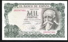 Spain banknotes 1000 Pesetas banknote, José Echegaray & Bank of Spain. - Obverse: Portrait of Jose Echegary. Reverse: Bank of Spain in Madrid. Printed by Fábrica Nacional de Moneda y Timbre, Madrid. Military Tags, Military Orders, House Paint Interior, House Painting, Are You Happy, Nostalgia, Author, Retro, Prints