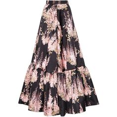 Rochas Women Floral Printed Duchesse Skirt (87.725 RUB) ❤ liked on Polyvore featuring skirts, floral knee length skirt, ruched skirt, floral printed skirt, gathered skirt and shirred skirt