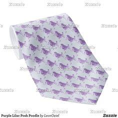 Shop Purple Lilac Posh Poodle Neck Tie created by LeonOziel. Custom Ties, Purple Lilac, Unique Image, Business Supplies, Poodle, Night Out, Gifts, Color, Design