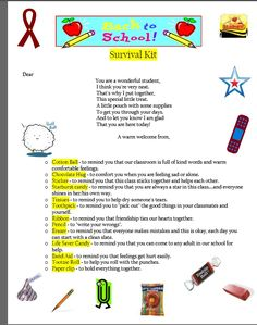 Back to School survival kit for students I like the wording in the beginning of this letter.