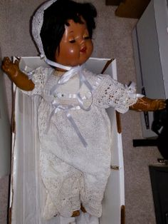 Heirloom Black Doll-Church Christening Gown. (All dolls being appraised for date of origination and history. Passed down to my children from Grandma Bailey.) This particular doll would be considered Mulatto in the late 1800's and prior to the Civil Rights Movement. She would be called Multiracial, African American or Black today. Times Change:)