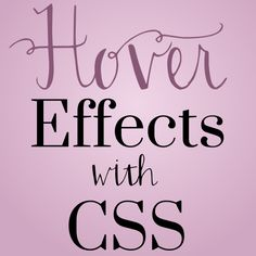 Hover effects with CSS