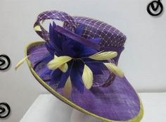 Ladies Purple & Yellow Wide Brim Hat,Races,Formals,Weddings,Dressage,Hat Making