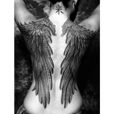 Black and white Angel's wing tattoo on full back ❤ liked on Polyvore featuring accessories, body art and tattoos