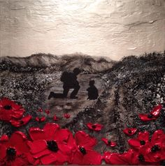 """Hearts And Minds"" by Jacqueline Hurley War Poppy Collection No.23 Port Out, Starboard Home POSH Original Art Remembrance Day is every day LEST WE FORGET"