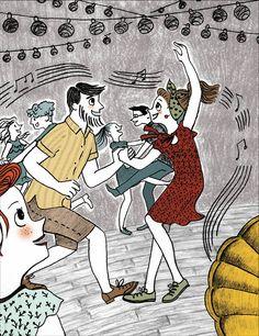 Hipster couples dancing swing music  #ilustration #pencil #textures #scene #digitalcolor #story #dance #music #swingdance #gramophon #vintageclothes #dancefloor Pencil Texture, Hipster Couple, Music Headphones, Pop Music, Vintage Outfits, Scene, Dance, Couples, Illustration