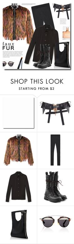 """""""fauxfurcoats"""" by bynoor ❤ liked on Polyvore featuring Nicopanda, Rick Owens, Christian Dior, Givenchy and fauxfurcoats"""
