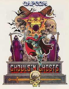 The Arcade Flyer Archive - Video Game Flyers: Ghouls 'N Ghosts, Capcom Vintage Video Games, Classic Video Games, Retro Video Games, Vintage Games, Video Game Art, Retro Games, Nintendo, Game Design, Arcade Retro
