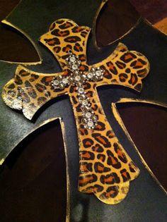 Leopard beaded cross.  Handmade and parts bought at Hobby Lobby.
