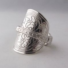 Stunning Detail Handmade Antique Ornate Sterling Silver Spoon Ring dated 1936 #LittleBirdStudio22 #SpoonRings #any