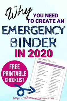 Emergency Binder for Important Document Organization! - - This guide to how to create an Emergency Binder includes a documents checklist, a list of things to include in an Emergency Binder, and why you need to make one now. Emergency Preparedness Checklist, Family Emergency Binder, In Case Of Emergency, Emergency Kits, Disaster Preparedness, Emergency Binder Free Printables, Hurricane Preparedness, Emergency Supplies, Instagram Collage