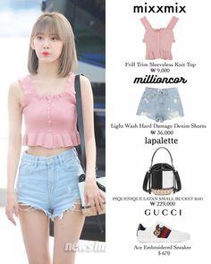 Kpop Outfits, Korean Outfits, Cute Outfits, Hey Girl, Pop Fashion, Denim Pants, No Frills, Korean Fashion, Bucket Bag