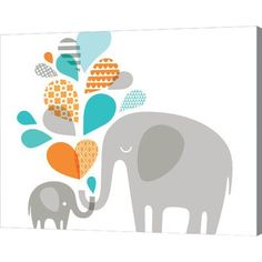 Evive Designs Elephant and Baby in Blue and Orange by Jeanie Nelson Original Painting on Wrapped Canvas