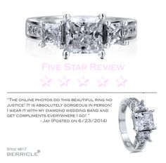 "5-STAR REVIEW ALERT!   ""The online photos do this beautiful ring no justice! It is absolutely gorgeous in person! I wear it with my diamond wedding band and get compliments everywhere I go! "" - Jay (Posted on 6/23/2014) ★★★★★ Sterling Silver 925 Princess Cut Cubic Zirconia CZ 3-Stone Ring  #5StarReview"
