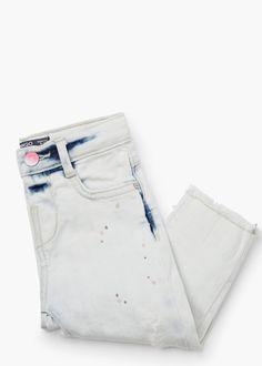 Slim-fit jeans met verfspatten