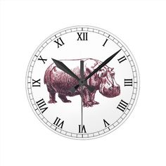 Hippopotamus Round Clock