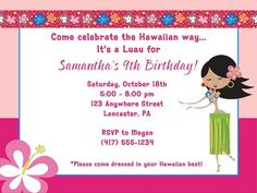 Make one-of-a-kind gifts with these designs! Birthday Party Invitations, Birthday Parties, Hula Girl, Elegant Invitations, Luau, Girl Birthday, Rsvp, Hawaiian, Celebrities