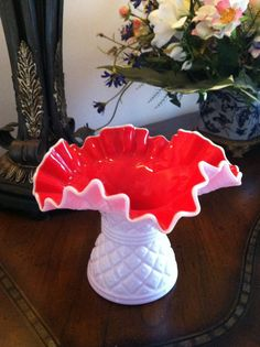 Kanawha Milk Glass Vase with Red Interior by FrannieBee on Etsy, $38.00