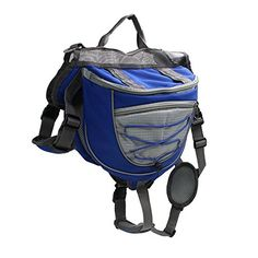 wowowoTM Dog Backpack Hiking Camping Training Adjustable Dog Saddle Bag for Medium  Large Dog Blue L *** To view further for this item, visit the image link.(This is an Amazon affiliate link)