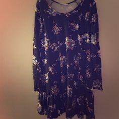 Dress Black knit shift dress with purple flowers Lush Dresses Long Sleeve